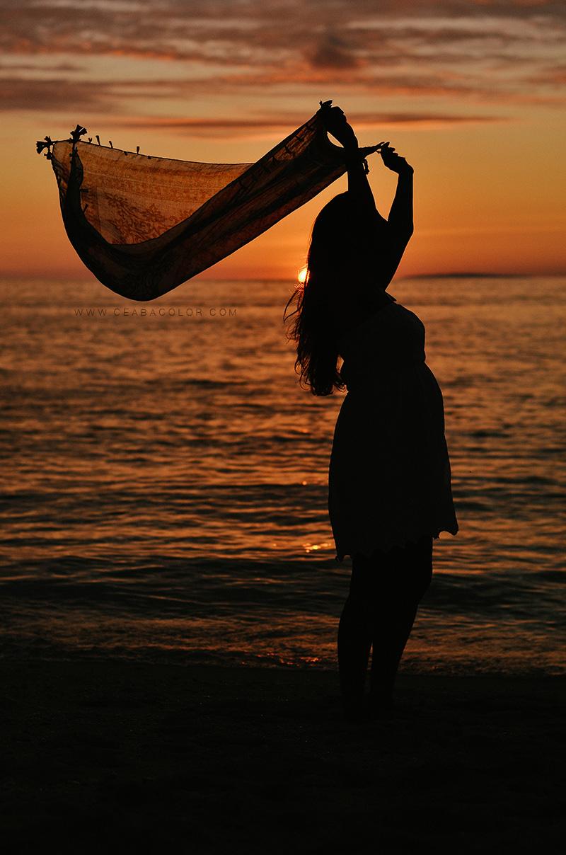 shangri-la boracay maternity beach sunset silhouette indian pregnant