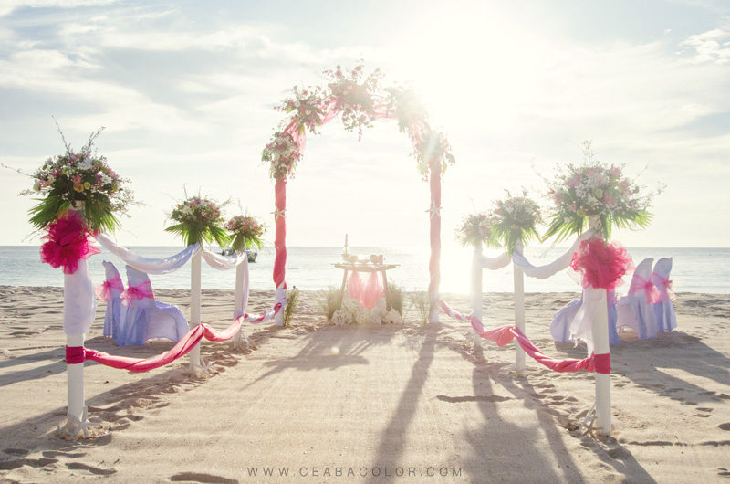 intimate boracay beach wedding pink tropical