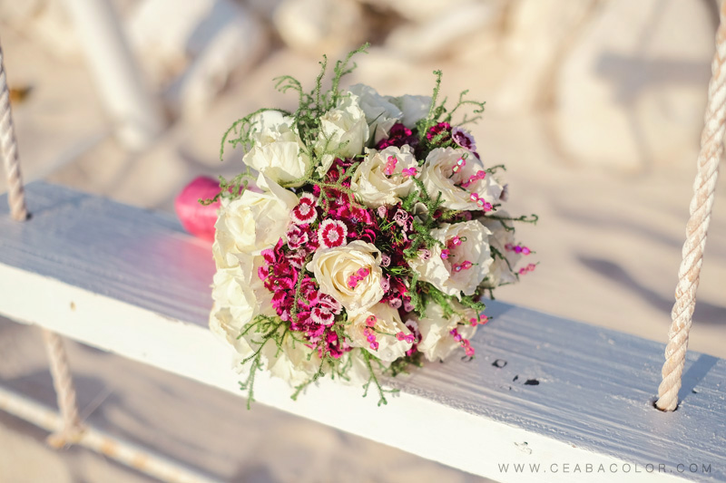 intimate boracay beach wedding pink bouquet