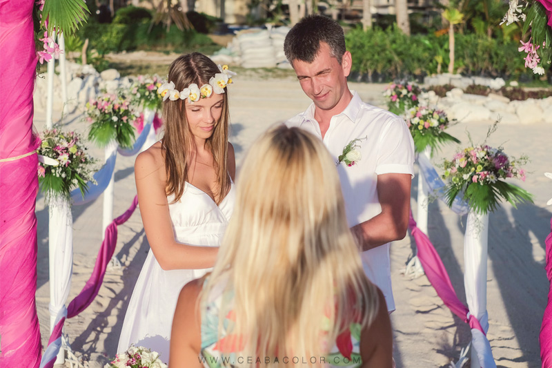 intimate boracay beach wedding pink tropical flowers russian