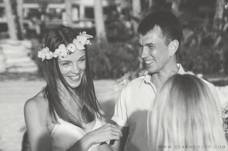 intimate boracay beach wedding pink tropical flower crown russian