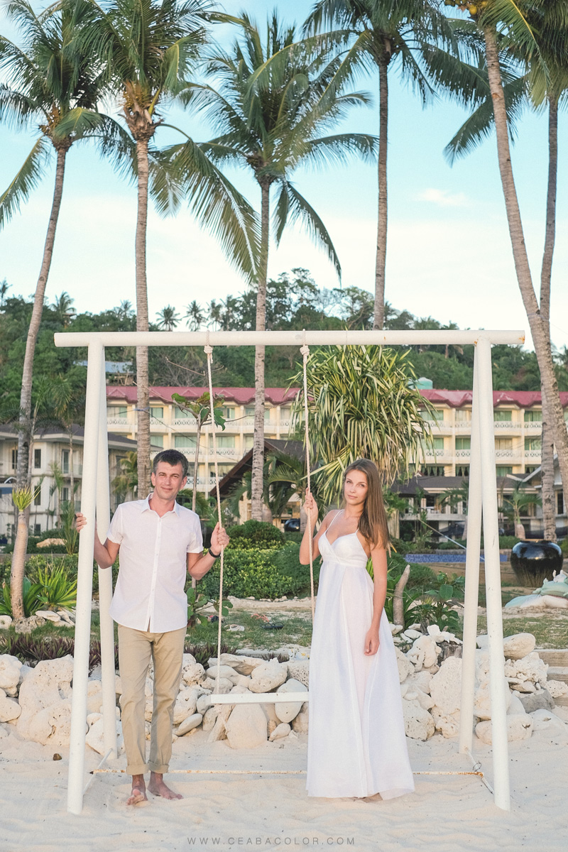 intimate boracay beach wedding russian swing sol marina resort