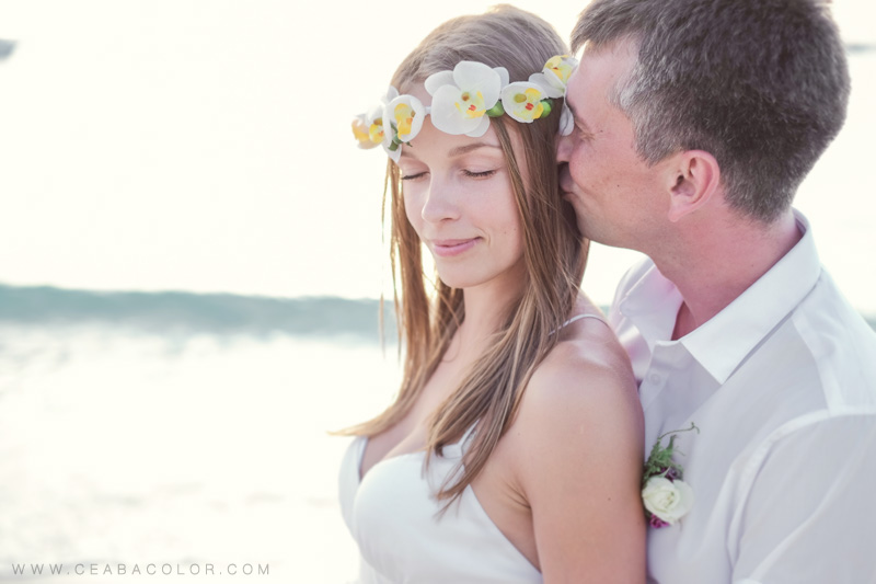 intimate boracay beach wedding russian flower crown sunset