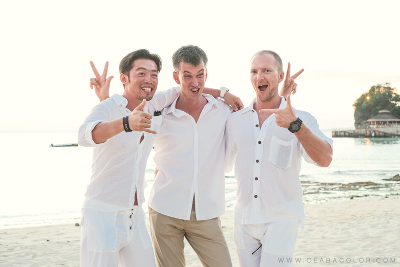 intimate boracay beach wedding russian groom groomsmen