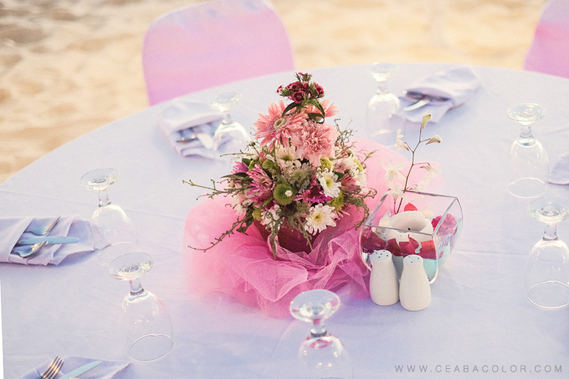 intimate boracay beach wedding pink dinner reception setup