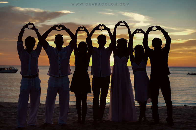 intimate boracay beach wedding heart silhouette