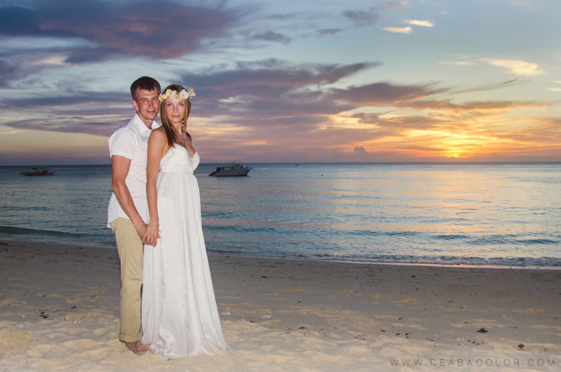 intimate boracay beach wedding russian sunset