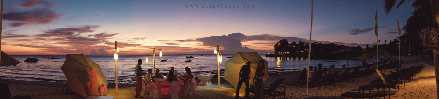 intimate boracay beach wedding russian sunset sky dinner reception panorama