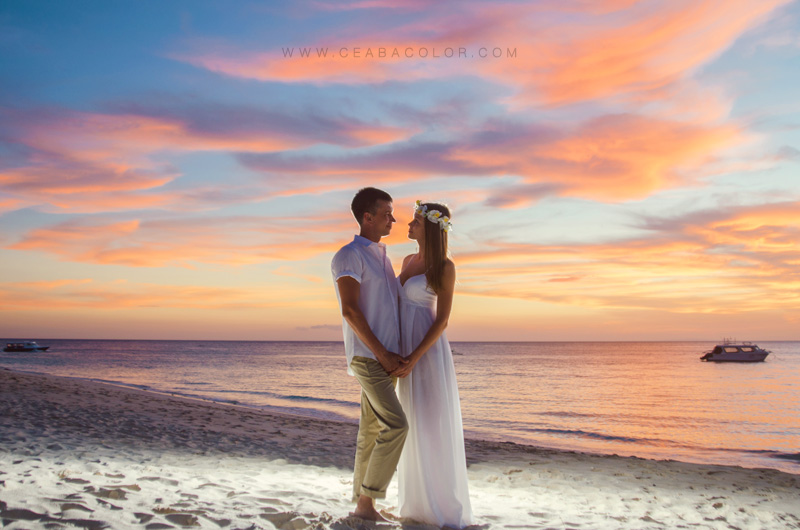 intimate boracay beach wedding russian sunset sky