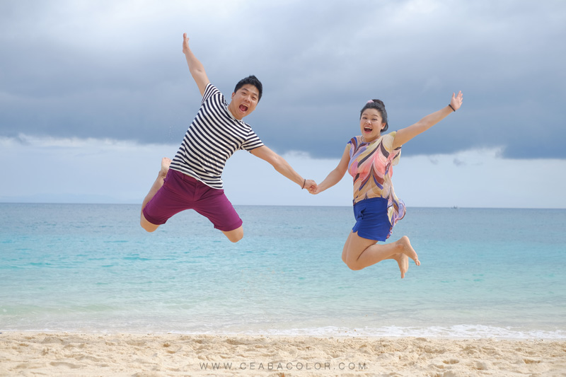 Puka beach Boracay prenup prewedding couple jump shot with fujifilm x-t1